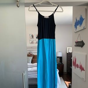 Macy's Maxi dress navy blue and bright blue
